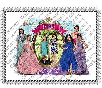 1/4 Sheet Disney's Descendants Fairest Add Your Picture Photo Frame Edible Image Cake Topper
