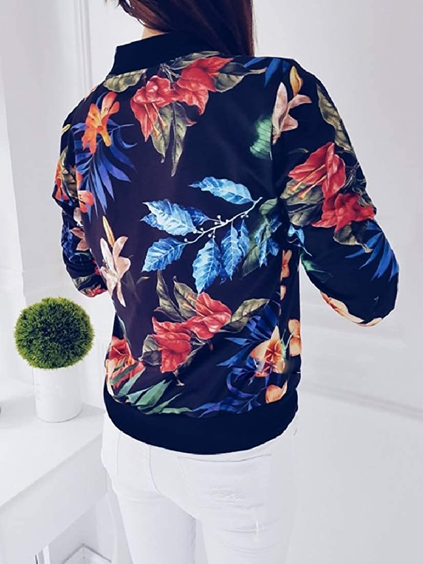 Doufine--women clothes Womens Floral Print Zipper Full Short Biker Bomber Jacket Coat