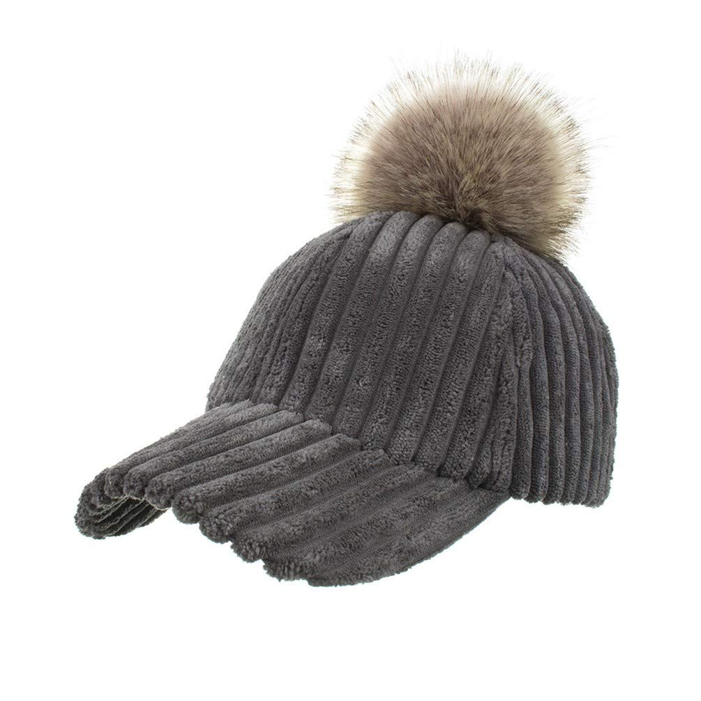 AdorabFitting-Cap Baseball Cap hat Autumn and Winter Vertical Bars Gray M(56-58cm)