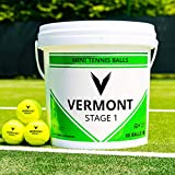 Vermont Green Stage Tennis Ball – ITF Approved – 60-Ball Bucket – 75% Compression – Durable Tennis Ball – Suitable For All Court Surfaces – For Ages 9 & 10 [Net World Sports]