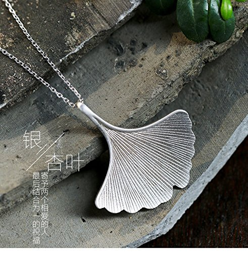 high-end Custom s925 Sterling Silver Necklace Pendant Ginkgo Leaf Long Women Girls Retro Fashion Accessories Gift