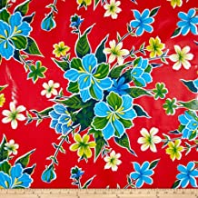 Oilcloth Hibiscus Red Fabric By The Yard