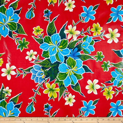 Oilcloth international oilcloth hibiscus red fabric by the for Cloth for sale by the yard