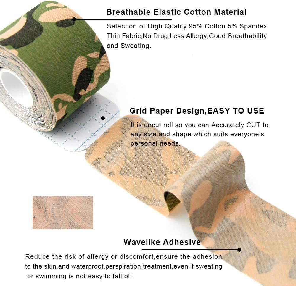 Knee /& Shoulder Muscles,Elbow MUEUSS Precut Kinesiology Tape Sports Hypoallergenic Waterproof Breathable Tape Elastic Recovery Sports Athletic Support for Ankle