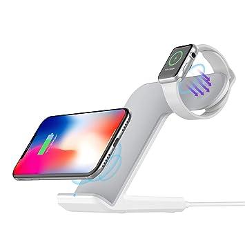 Cargador Inalámbrico 2 En 1 Soporte De Carga Inalámbrico Rápido Para Apple Watch 4/3/2/1, Iphone Xs/XS MAX/X / 8 Plus, (Adaptador NO Incluido) ...