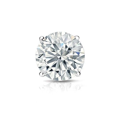 14k Gold Round SINGLE Diamond Stud Earring 1 10cttw, J-K, I2-I3 4-Prong Basket set with Screw-back Diamond Wish