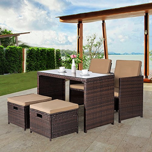 Cloud Mountain Outdoor 5 Piece Rattan Wicker Furniture Bar Set Dining Set  Cushioned Patio Furniture Set