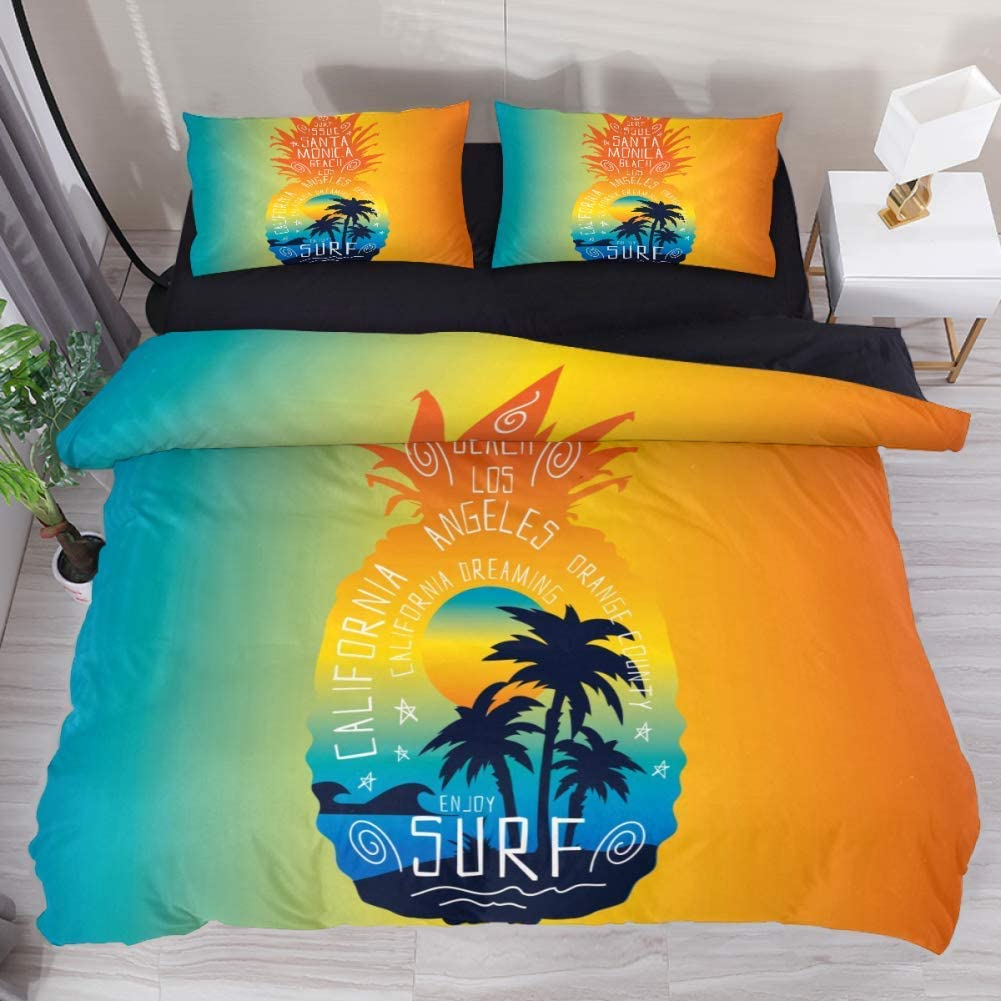 B07SQZT187 Twin Duvet Cover Set 3 Pieces Summer Pineapple, 59 x 79 Soft Microfiber Bedding Covers Sets with Zip Comforter Quilt Cover for Boy Girls 61Bt0Jyn2RL