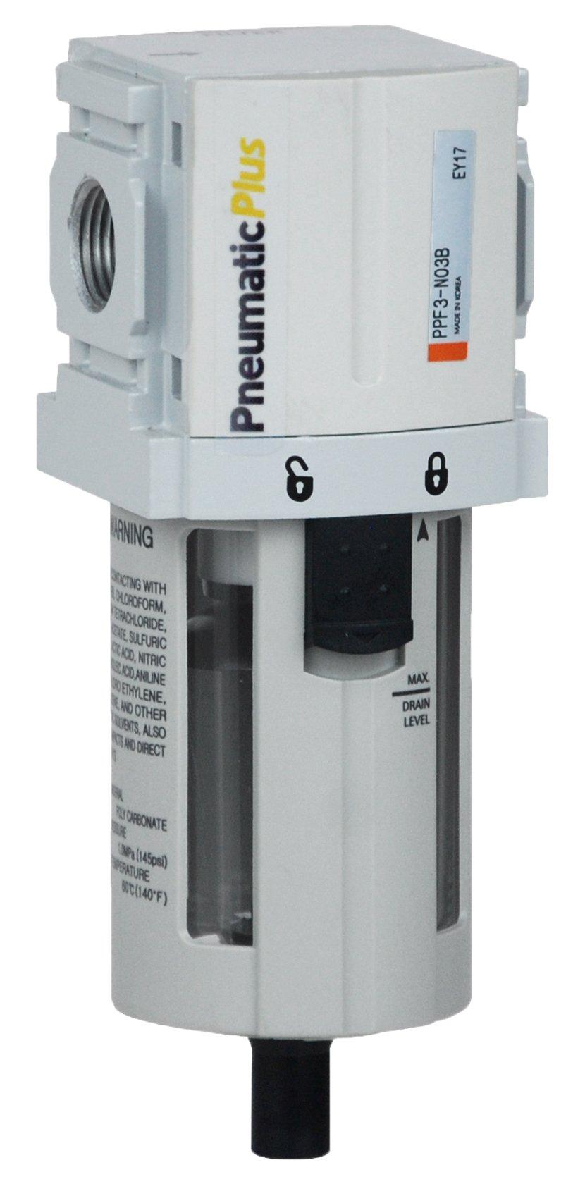 PneumaticPlus PPF3-N02B Compressed Air Particulate Filter, 1/4'' NPT (High Flow), 5 Micron, Poly Bowl, Manual Drain, Bracket