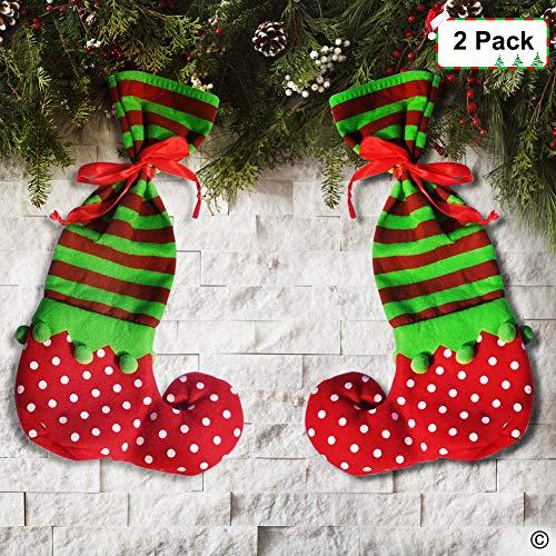 Christmas Stockings Red Elf Pants Santa Candy Gift Holders Bags Kits Xmas Home Seasonal Decor (2 -