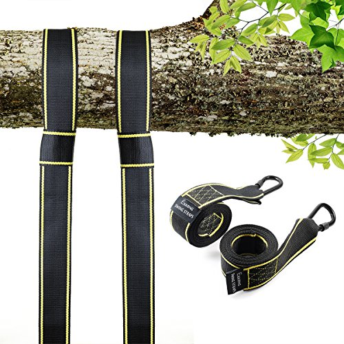 Tree Swing Straps Hanging Kit Holds 2800lbs, Fast & Easy Way to Hang Any Swing, 2 Tree Straps(5 FT) and 2 Safety Lock Carabiner Hooks, Perfect For Swings and Hammocks - 100% Waterproof (type 1) by EKKONG
