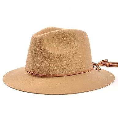 003315fe1fb Women Wide Brim Doubt Belts Bowknot Tassel Cap Wool Fedora Hat (Camel)