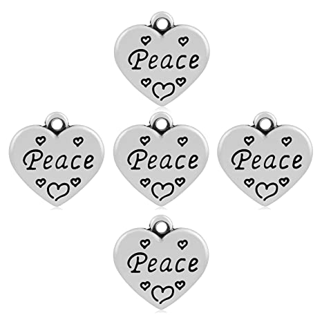 Amazon com: Heart with Word Peace Design Tibetan Style