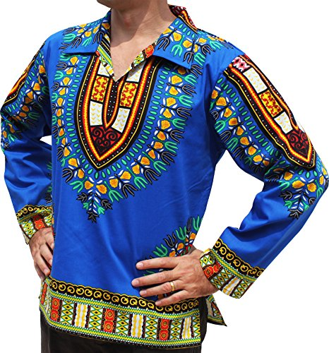 RaanPahMuang European Poets Collar Long Sleeve Shirt African Dashiki Plus Size, XX-Large, Medium Blue