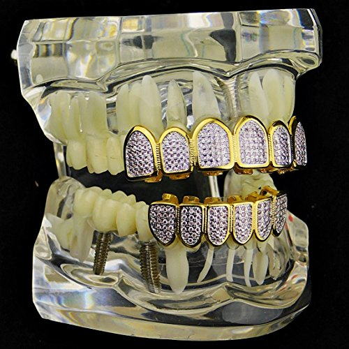 Premium Pink CZ Grillz Set 2-Tone 14K Gold Plated WIth Silver Finish Top & Bottom Bling Teeth Hip Hop Grills by Bling Cartel (Image #2)