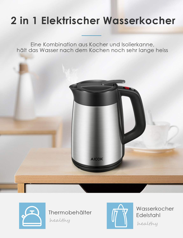 AICOK Wasserkocher Edelstahl mit Temperaturregler 1.7L Automatische Abschaltfunktion 2200W Doppelwandiger Wasserkessel aus Edelstahl mit Temperaturhaltefunktion und LED-Anzeige