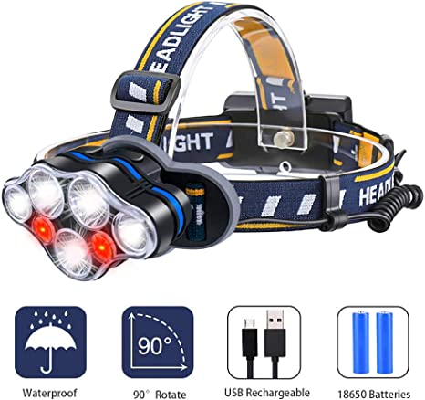 Linterna Frontal LED, Luz Frontal De USB Rechable Impermeable IPX4 ...