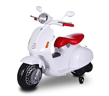 e05954aaa1466 Scooter électrique LT849 pour enfants PRIMAVERA avec siège en cuir 12 V -  Blanc