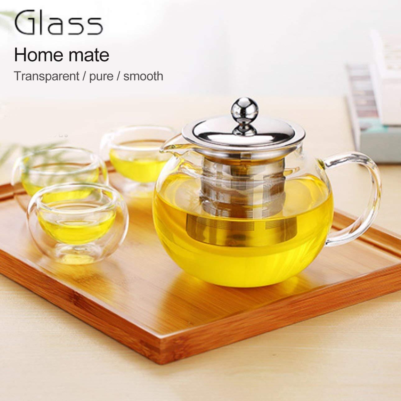 Ballylelly Tetera de vidrio de borosilicato transparente de alta resistencia a la temperatura Tetera de vidrio elegante con infusor de acero inoxidable