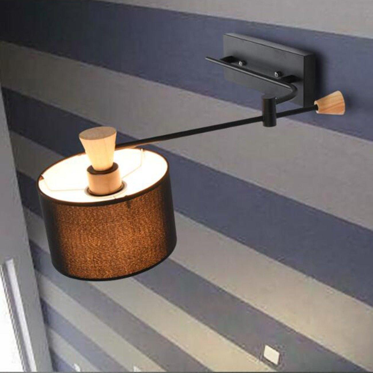 SiwuxieLamp Wandleuchte Nordic einfache moderne kreative Nachttischlampe einzigen Kopf weißen Schlafzimmer Wohnzimmer Schaukel Arm Rocker Wandleuchte, B Halterung Licht