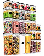 24 Pack Airtight Food Storage Containers - Wildone BPA Free Plastic Dry Food Canisters with Durable Lids for Kitchen Pantry Organization, Ideal for Cereal, Flour & Sugar - Labels, Marker Set