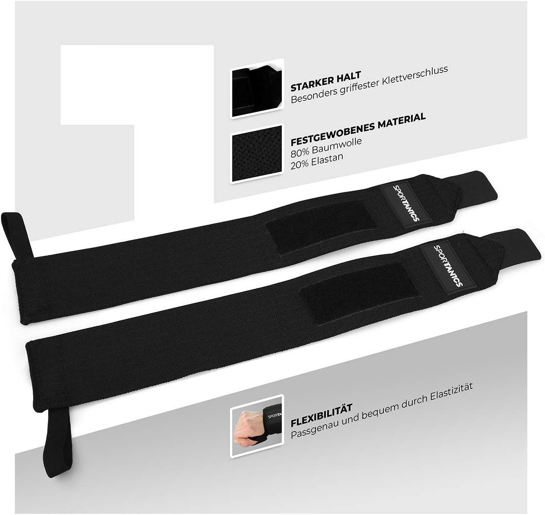 Kraftsport /& Crossfit Wrist Wraps 50cm geeignet f/ür Frauen und M/änner Sport oder Bodybuilding SPORTANICS 2 x Handgelenk Bandagen f/ür Fitness