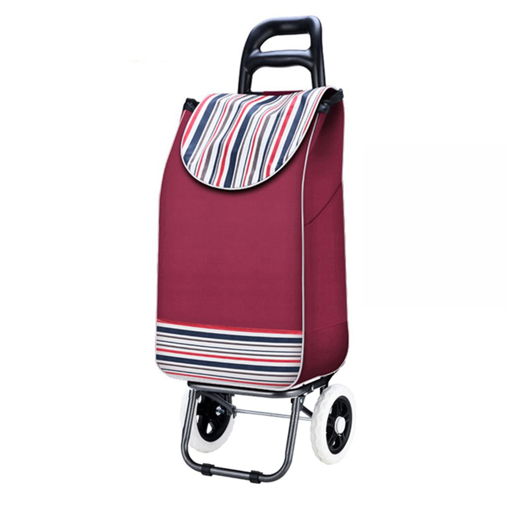 DNSJB Shopping cart, Shopping cart, Small cart, Portable cart, Collapsible Trolley, Luggage, Trolley, Force, Big Hand, Good Feeling (Color : Red)