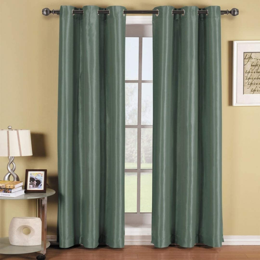 Soho Smoke Blue Grommet Blackout Window Curtain Drape Solid Pattern 42x84 Inches By Royal Hotel Furniture Decor