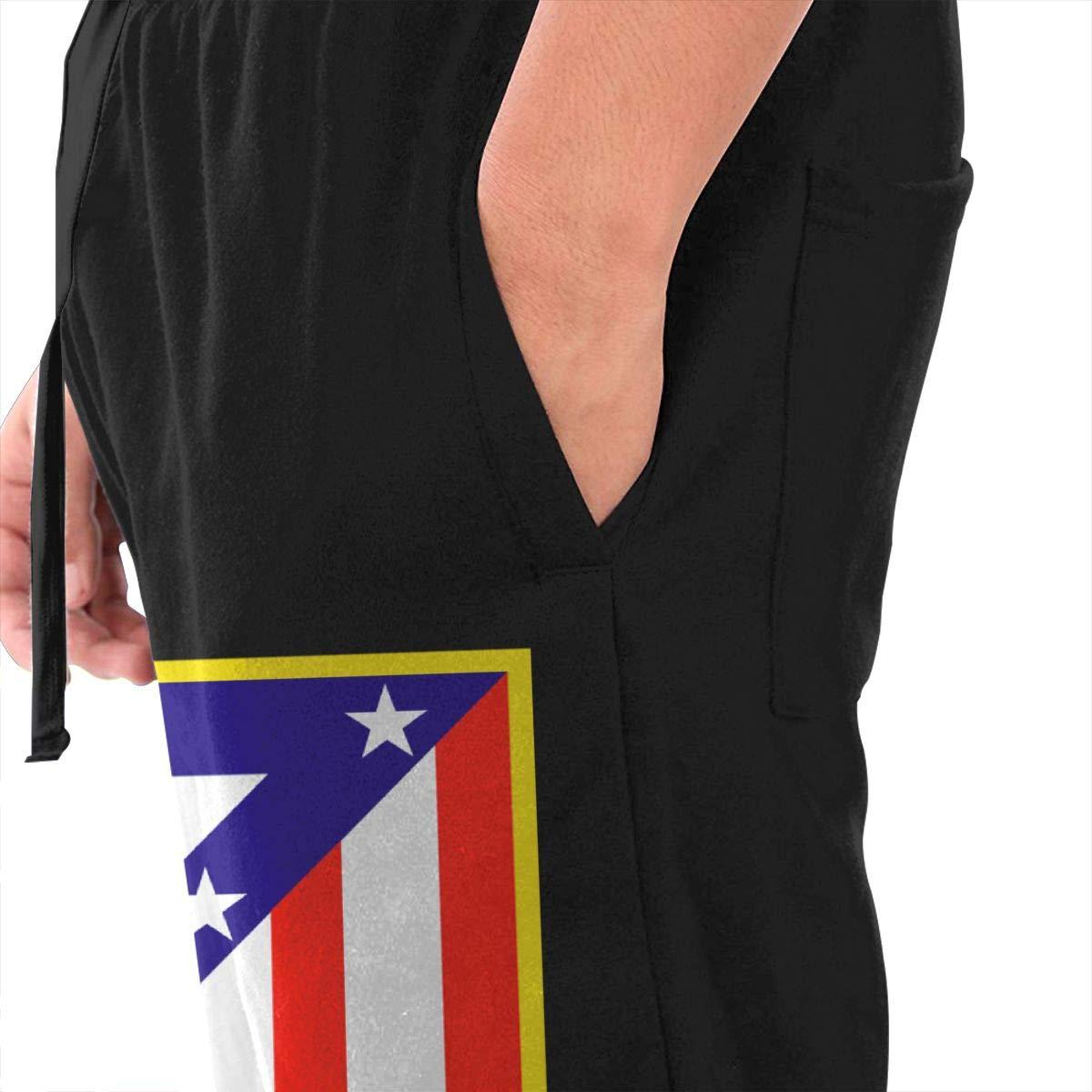 Dbou Atletico Madrid Soccer Logo Drawstring Waist,100/% Cotton,Elastic Waist Cuffed,Jogger Sweatpants Black