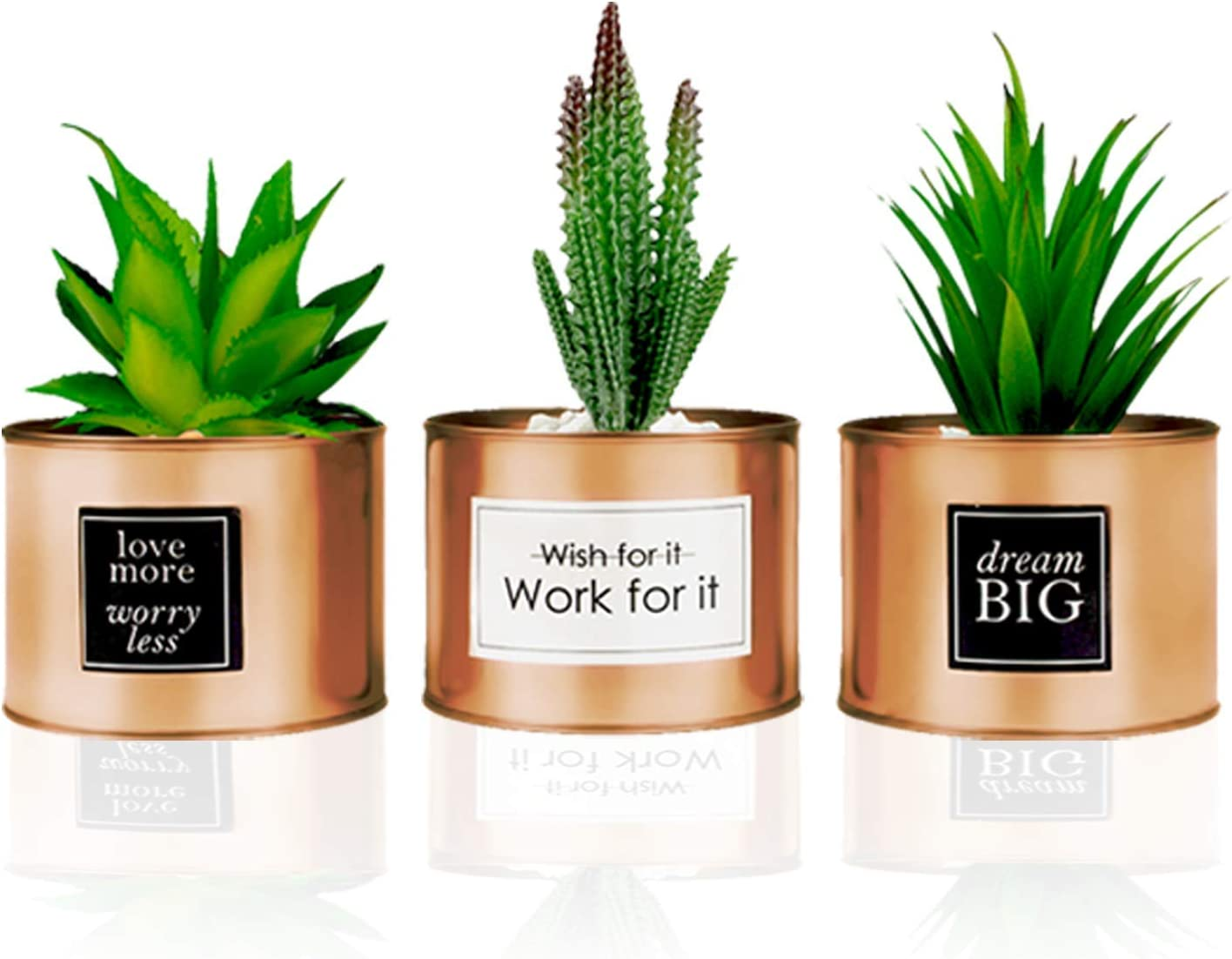 Office Decor for Women Desk - Desk Decor for Women, Bedroom Decor for Women - Desk Decorations for Women Office - Bookshelf Decor, Boho Home Decor, Fake Cactus Office Plant Decor for Cubicle Decor
