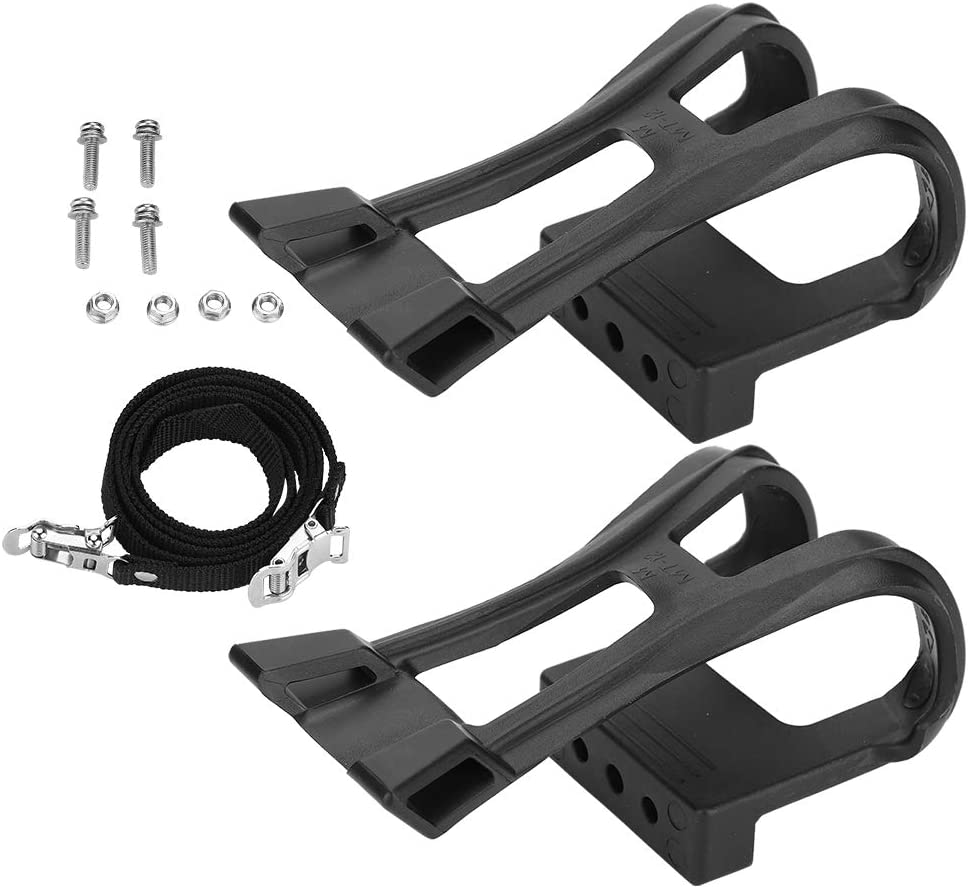 Keenso 1 Pair of Plastic Black Adjustable Bike Pedal Straps Anti-Slip Toe Clip Belt Bicycle Accessory