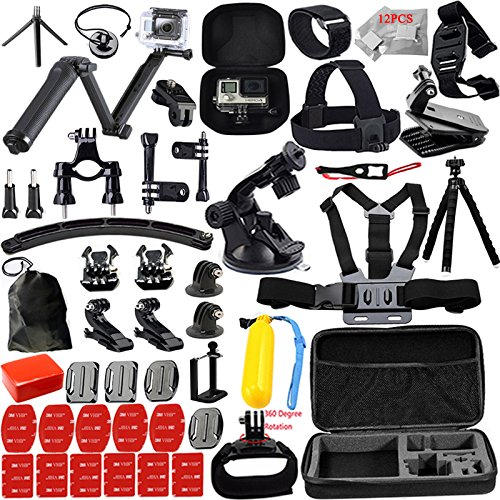 Kit For GoPro Accessories Session Hero 3 4 5 Go Pro Equipment Case Bundle Bag Pack – Selfie Stick Pole Tripod EVA case Suction Cup for xiaomi yi Action Camera Kit 13M