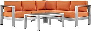 Modway Shore 4-Piece Aluminum Outdoor Patio Sectional Sofa Set in Silver Orange
