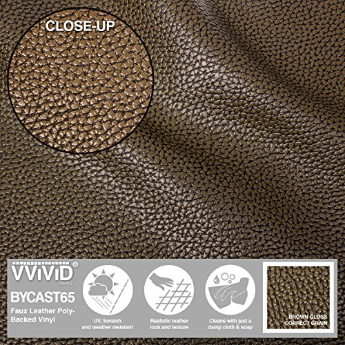 VViViD Bycast65 Brown Correct-Grain Faux Leather Marine Vinyl Fabric (10ft x 54