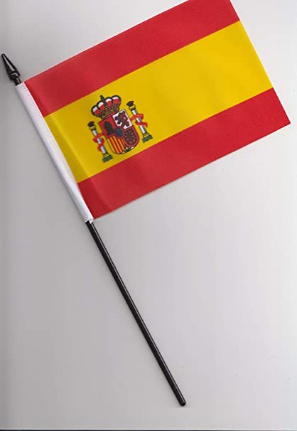 Bandera de la mano del escudo del estado de España, 25 cm por 1000 banderas: Amazon.es: Jardín
