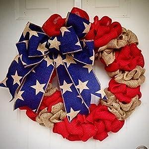 Burlap American Flag Wreath USA United States of America Red White Blue Burlap door hanger 23