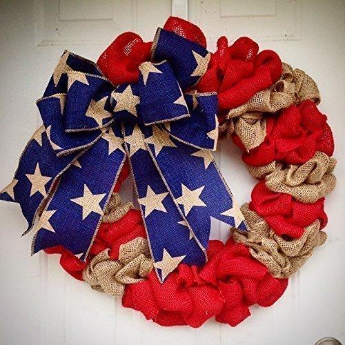 - Burlap American Flag Wreath USA United States of America Red White Blue Burlap door hanger