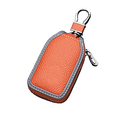 Car Key case Key Bag Wallet - Superior Genuine Leather Auto Car Key FOB Holder Protector Cover Smart Key Chain with Metal Hook and Zipper Closure Universal (Orange): Office Products