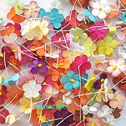 Blossom Flower Shops - RATREE SHOP Handmade 100 Pcs Mixed Color Mulberry Paper Flower Blossom DIY Crafts 15-18mm, Products From Thailand