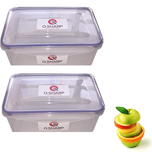 Q-Sharp - Fiambrera rectangular (2 x 1,3 L, sin BPA, apta para ...