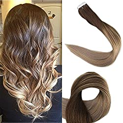 Full Shine 14 inch 50g 20Pcs Tape in Hair Extensions Real Human Hair Glue in Extensions Balayage Ombre Hair Extensions Color #4 Fading to #18 and #27 Honey Blonde