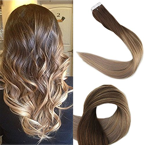 Hair Digital Extension (Full Shine 14 inch 50g 20Pcs Tape in Hair Extensions Real Human Hair Glue in Extensions Balayage Ombre Hair Extensions Color #4 Fading to #18 and #27 Honey Blonde)