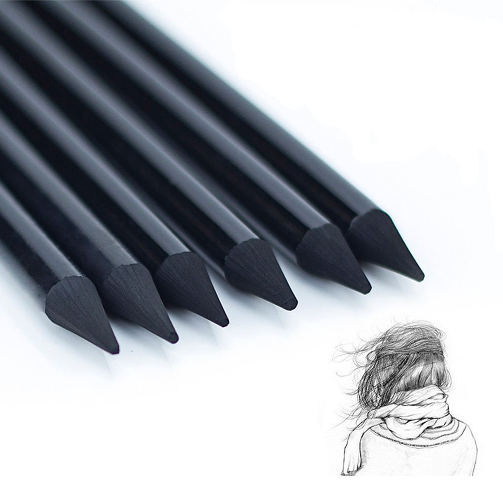 Artist Woodless Charcoal Pencils Professional Manga Non-Wood Sketch Drawing Pencil Kit Charcoal Sticks Art Pencil Set Sketching Shading Pencils Black/Graphite for Beginners, Artists, Set of 10, Soft by Clobeau