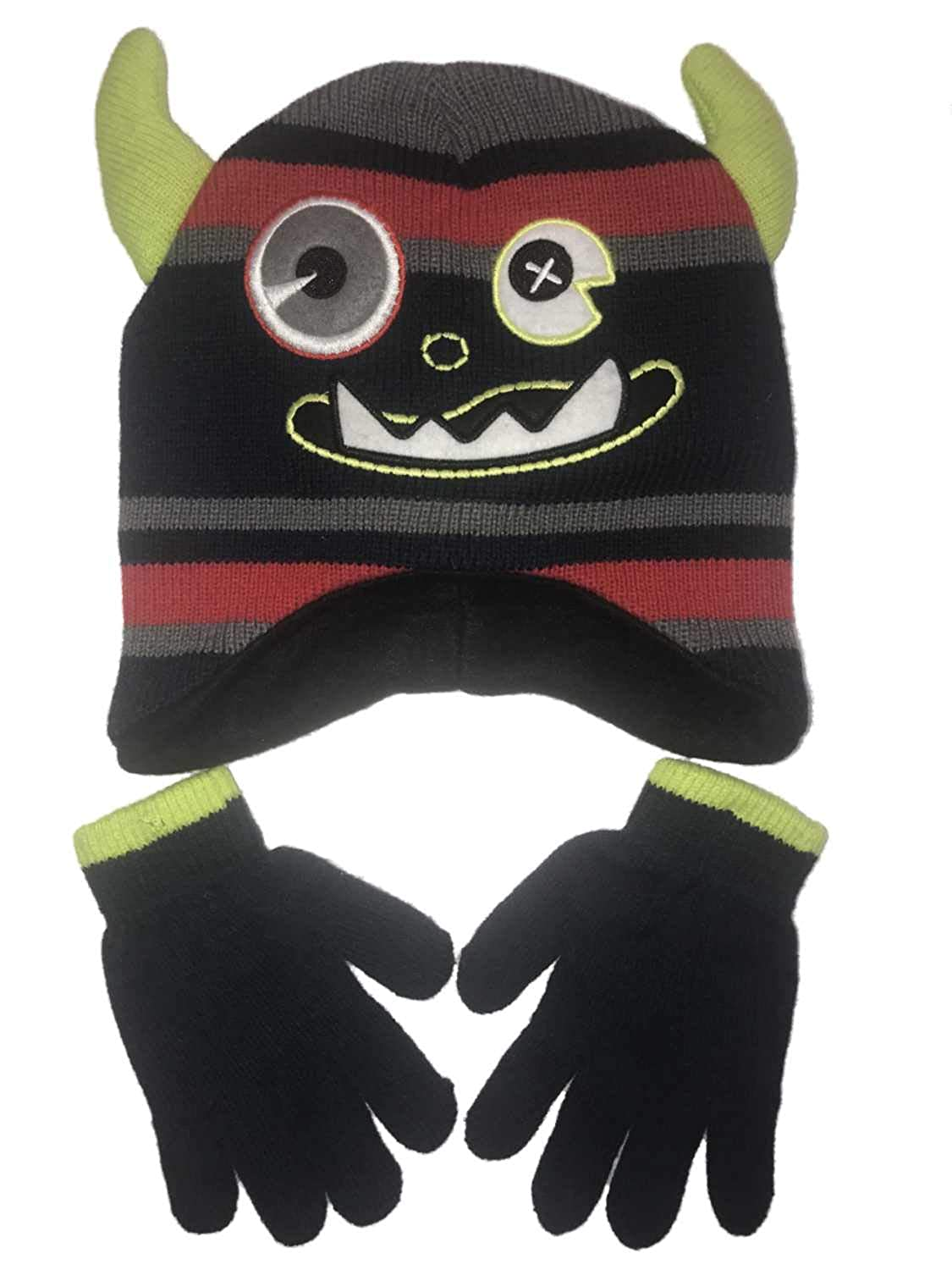 b1d4a6b729d Amazon.com  Boys Navy Silly Monster Striped Winter Hat   Gloves Beanie Set   Clothing