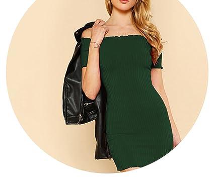 22ccf80dea30 Lettuce Edge Ribbed Bardot Summer Dress Green Short Sleeve Dress Off The  Shoulder Mini Dress