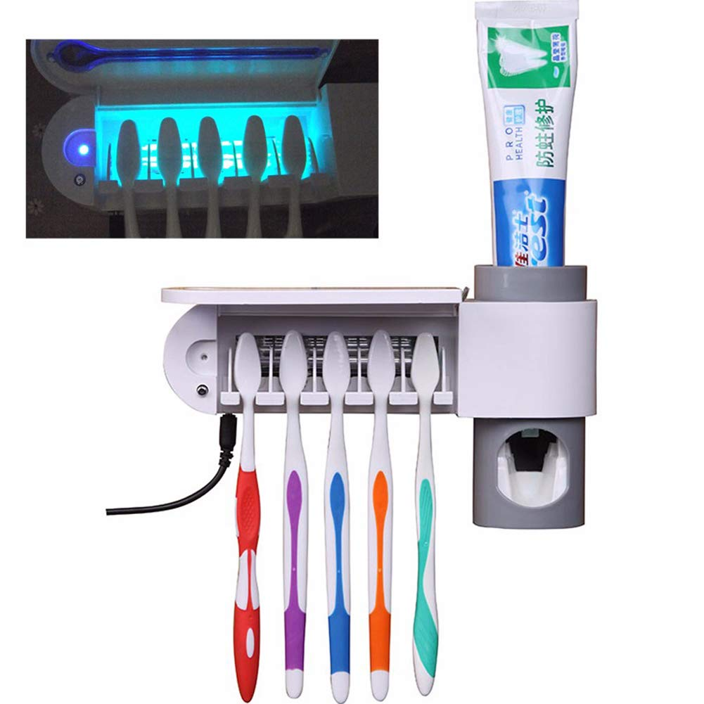 Mylhope 3-in-1 Function Automatic Toothpaste Dispenser Sterilizer UV Light Squeezer Toothbrush Holder Cleaner Bathroom Hotel