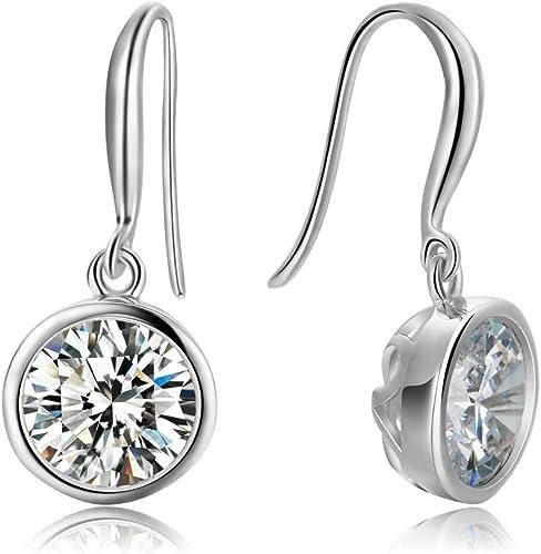 CZ dangle Earrings Bridesmaid Gift Drop Earrings CZ Earrings Bezel Set Cubic Zirconia Imitation Diamond Earrings 14K Yellow Gold Filled