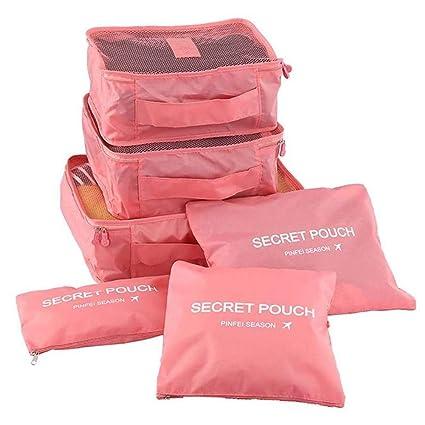 LANYUER Organizadores de viaje, 6 unidades de bolsas de tela Oxford con cremallera, cubos