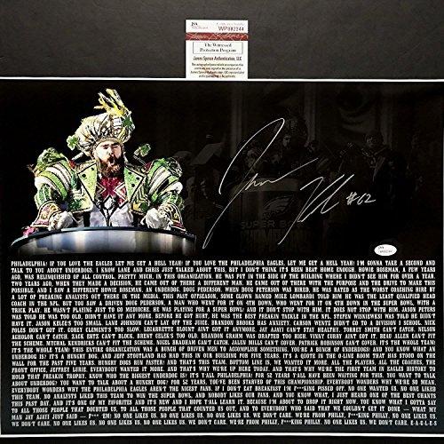 Autographed/Signed Jason Kelce Super Bowl Parade Speech Transcript Mummers Philadelphia Eagles 16x20 Football Photo JSA COA (Bowl Autographed)