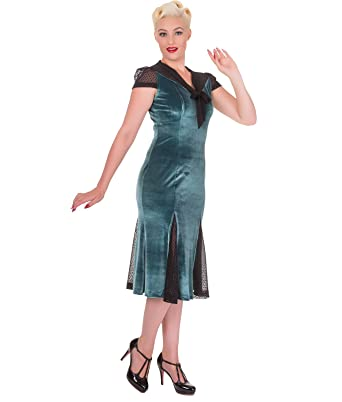 Tiger Milly Banned Sensation Velvet Evening Cocktail Wiggle Flared Dress - UK 10 (S)